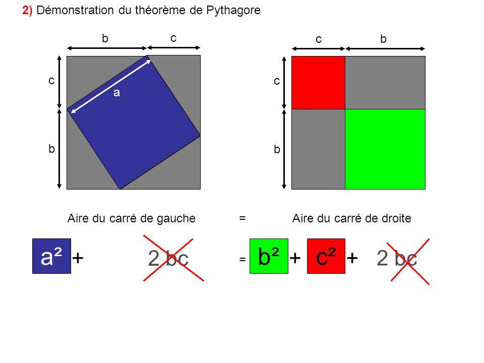 a² c² b² + bc 2 bc 2 bc 2 2) Démonstration du théorème de Pythagore b
