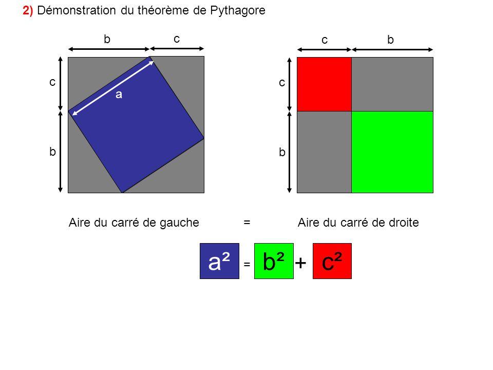 a² b² c² + 2) Démonstration du théorème de Pythagore b c c b c c a b b