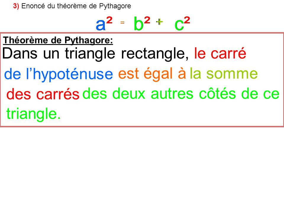 a² a² a² c² b² b² b² c² c² Dans un triangle rectangle, le carré