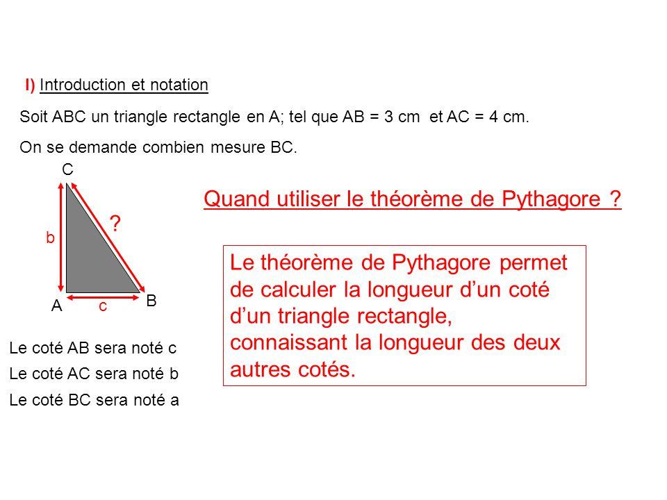 Quand utiliser le théorème de Pythagore