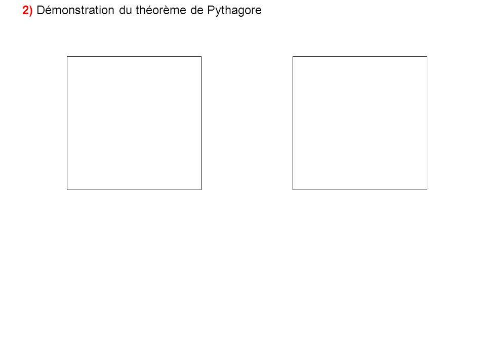2) Démonstration du théorème de Pythagore