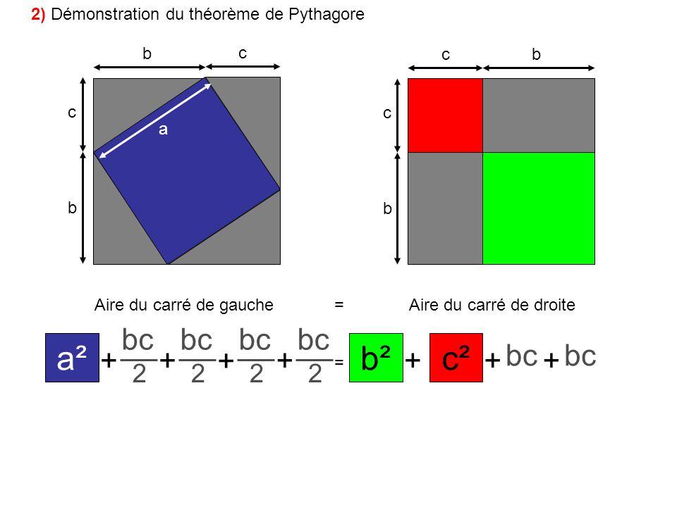 a² c² b² bc + 2 2) Démonstration du théorème de Pythagore b c c b c c