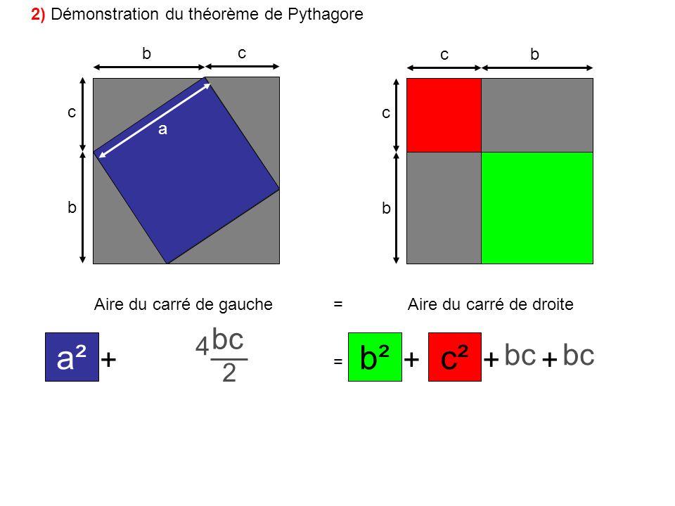 a² c² b² + bc bc 2 2 4 2) Démonstration du théorème de Pythagore b c c