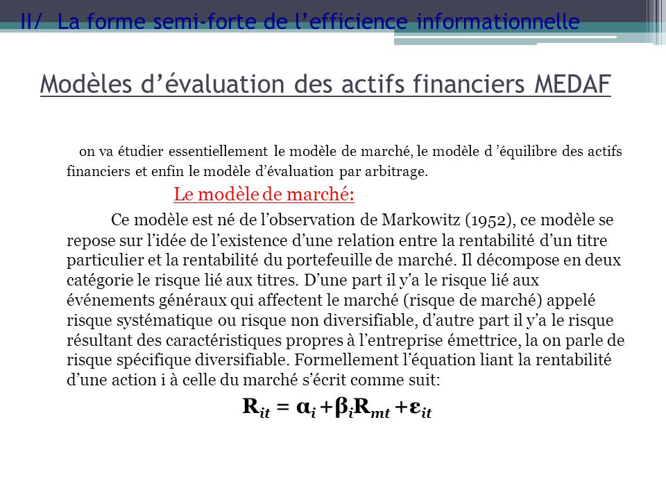 Modèles d'évaluation des actifs financiers MEDAF