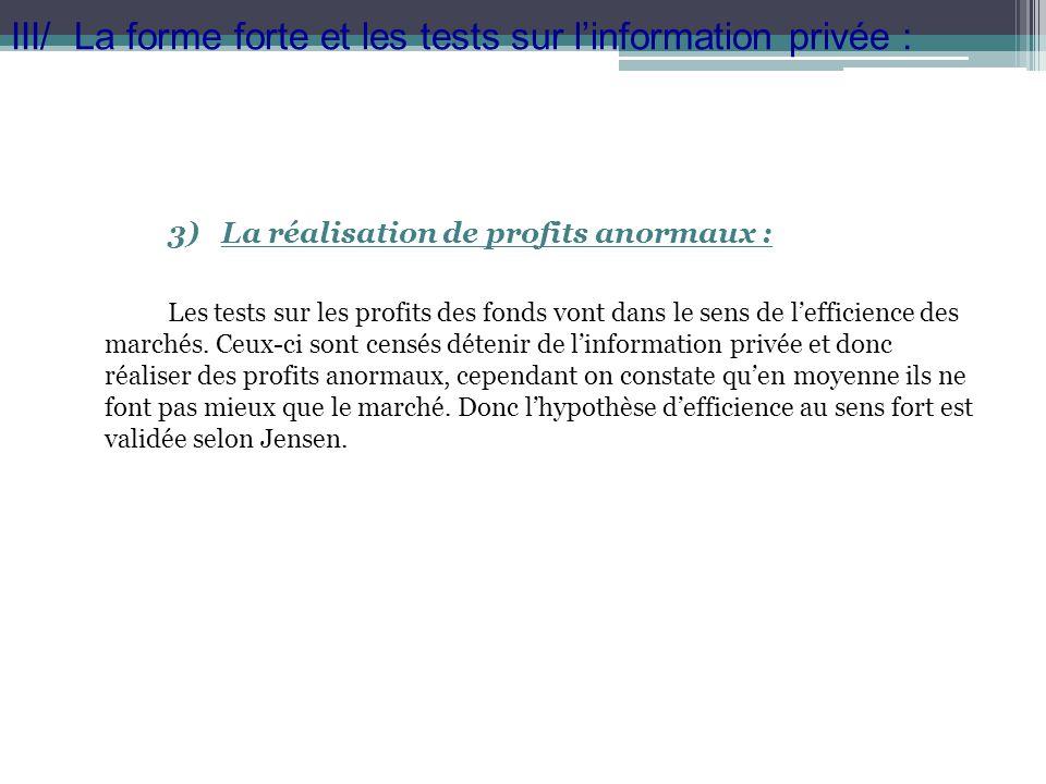 III/ La forme forte et les tests sur l'information privée :