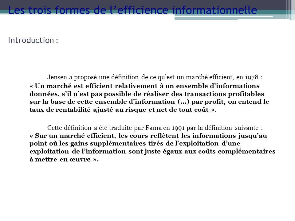 Les trois formes de l'efficience informationnelle