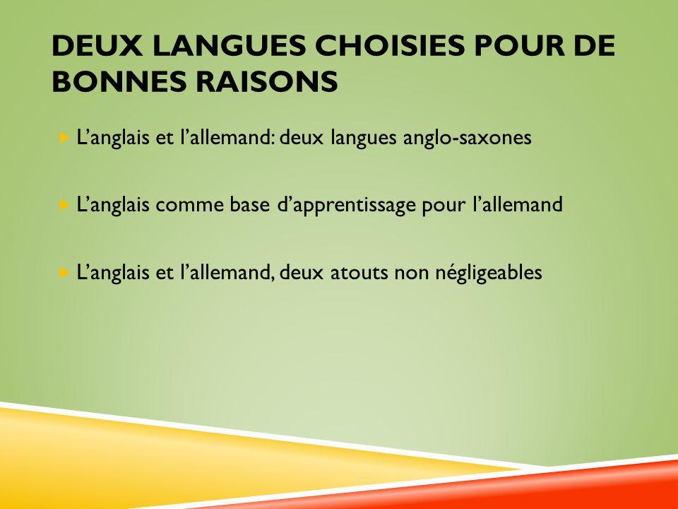 Deux langues choisies pour de bonnes raisons