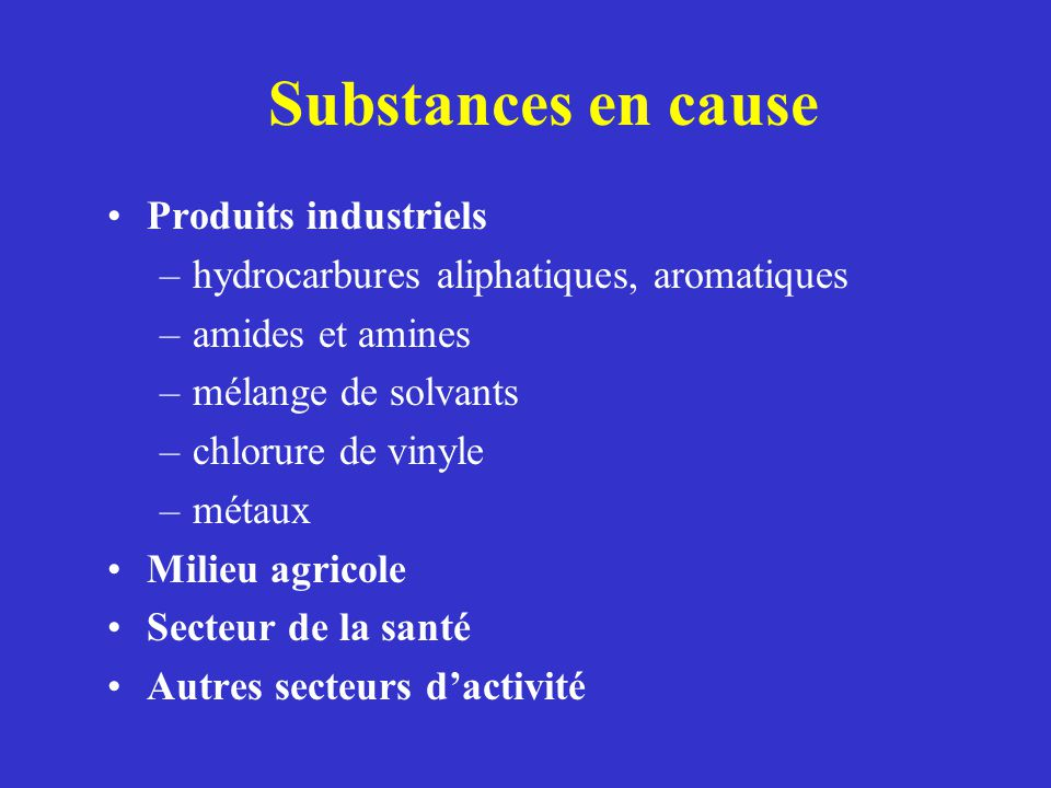 Substances en cause Produits industriels