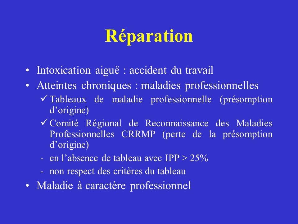 Réparation Intoxication aiguë : accident du travail
