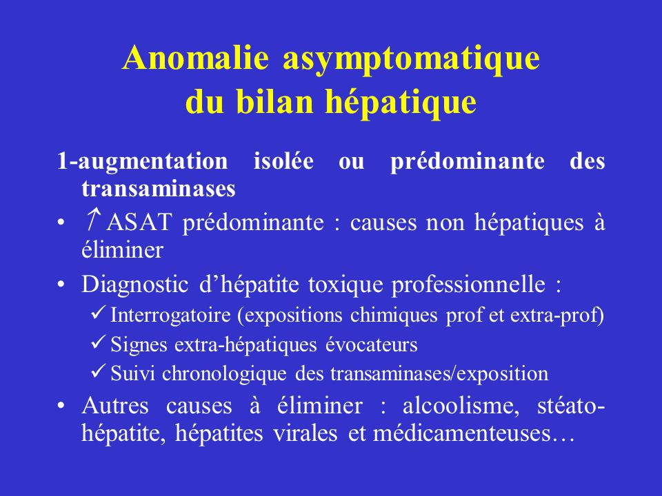 Anomalie asymptomatique du bilan hépatique