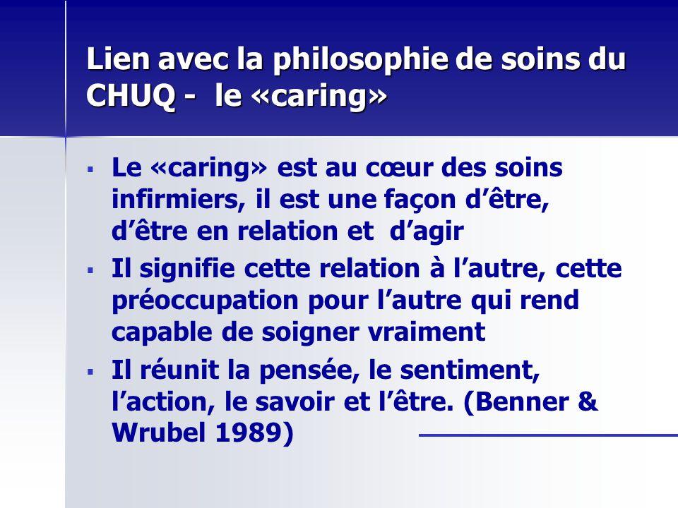 Lien avec la philosophie de soins du CHUQ - le «caring»
