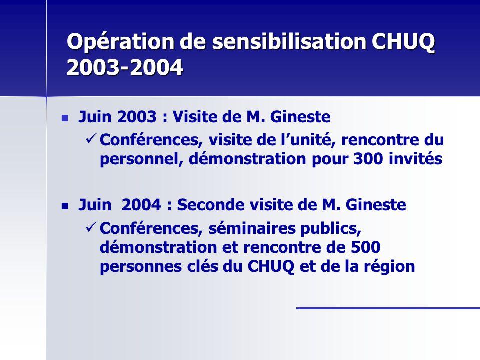 Opération de sensibilisation CHUQ 2003-2004