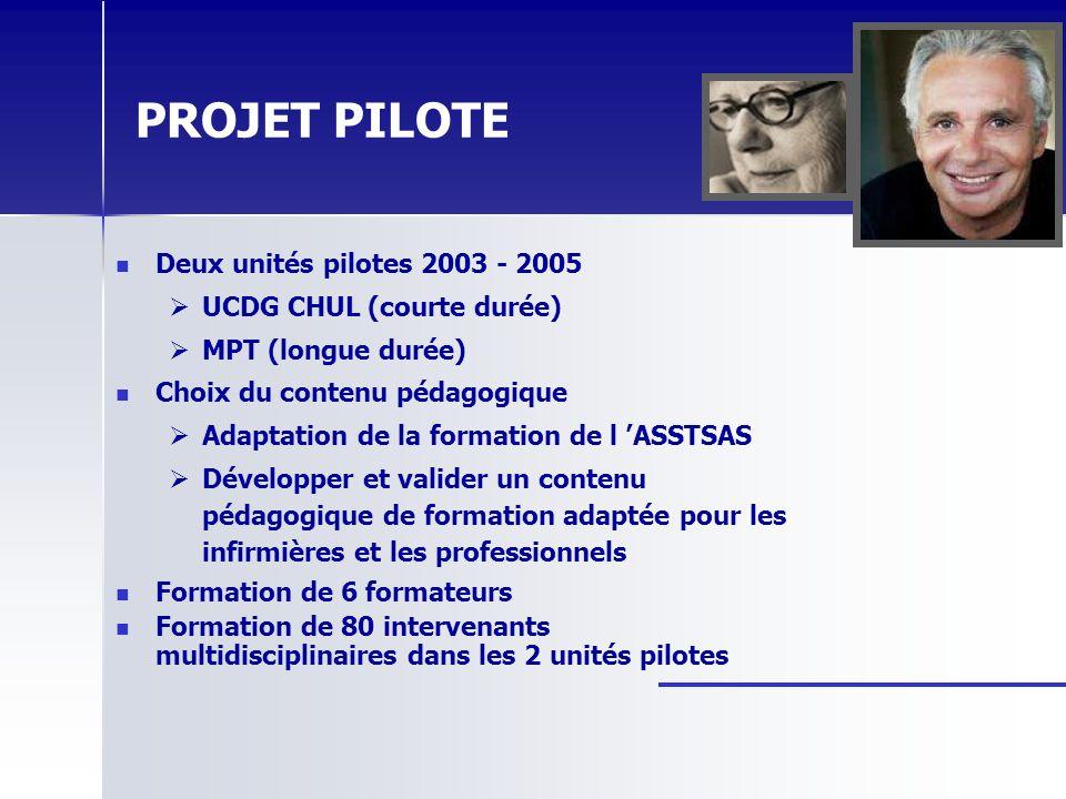 PROJET PILOTE Deux unités pilotes 2003 - 2005 UCDG CHUL (courte durée)