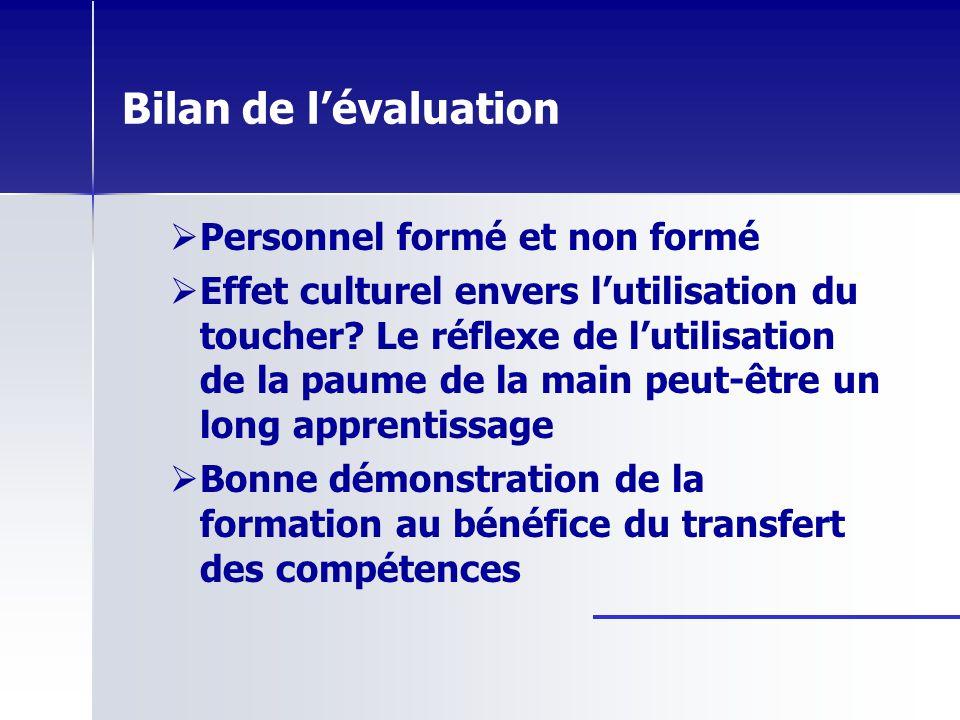Bilan de l'évaluation Personnel formé et non formé