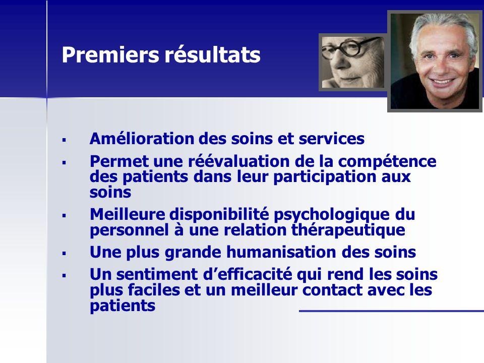 Premiers résultats Amélioration des soins et services