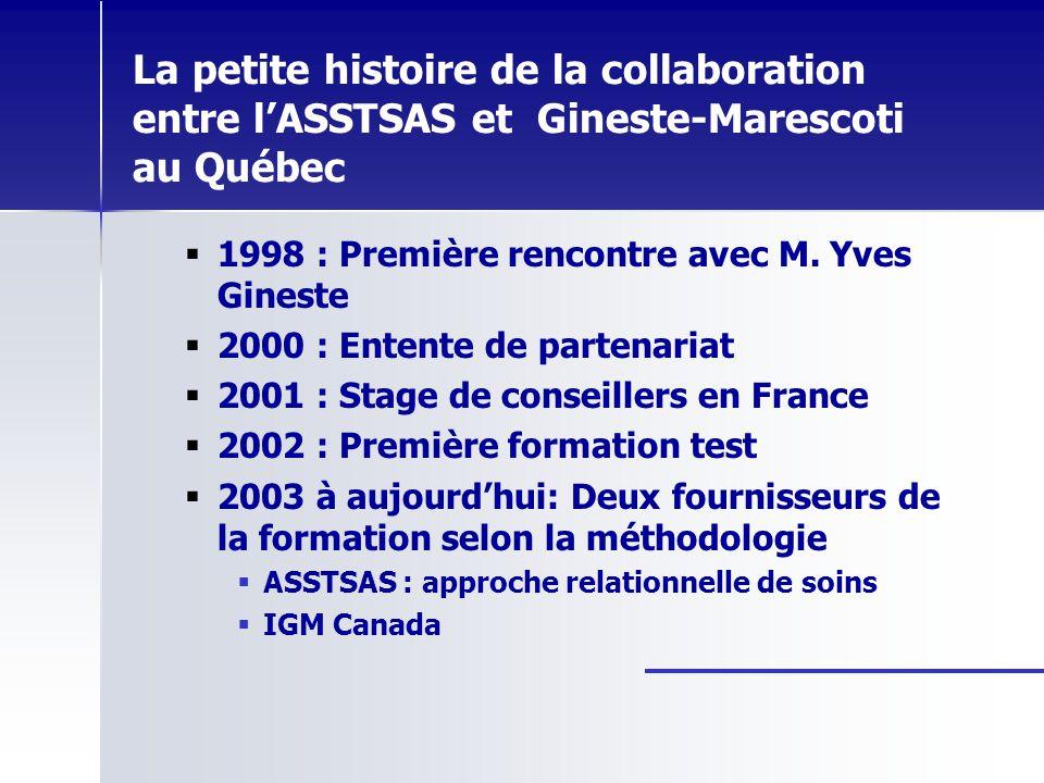La petite histoire de la collaboration entre l'ASSTSAS et Gineste-Marescoti au Québec