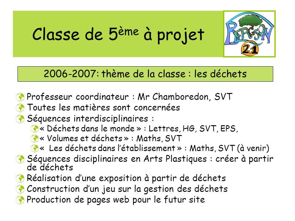 2006-2007: thème de la classe : les déchets