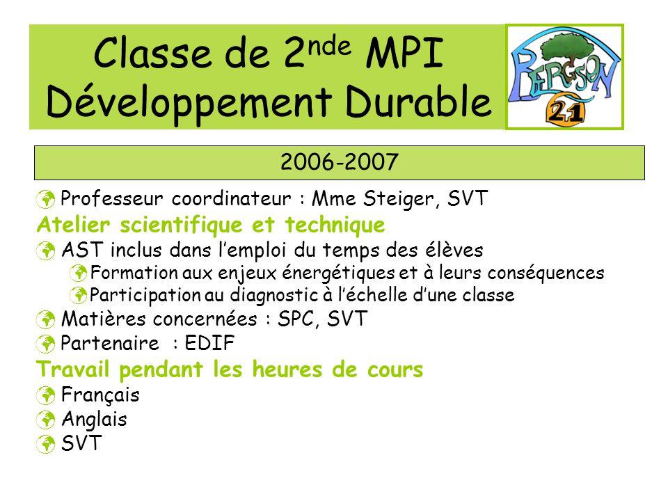 Classe de 2nde MPI Développement Durable