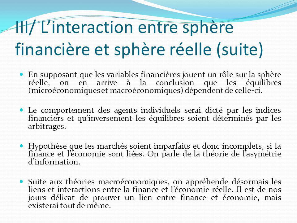 III/ L'interaction entre sphère financière et sphère réelle (suite)
