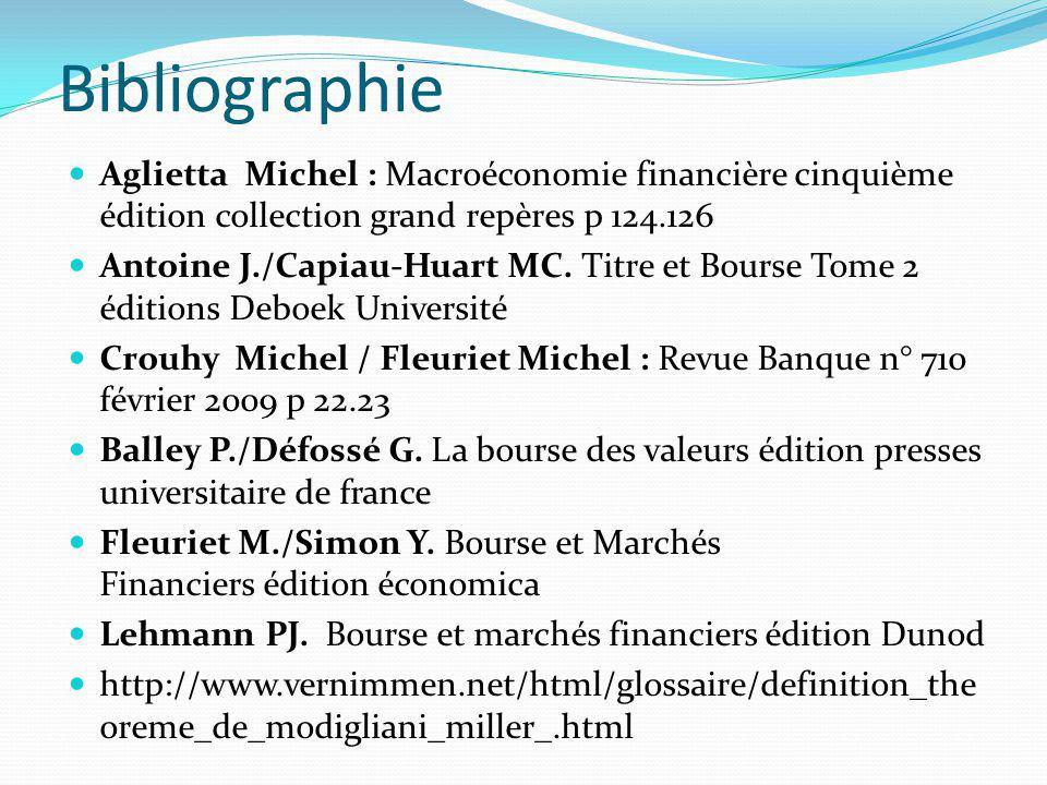 Bibliographie Aglietta Michel : Macroéconomie financière cinquième édition collection grand repères p 124.126.