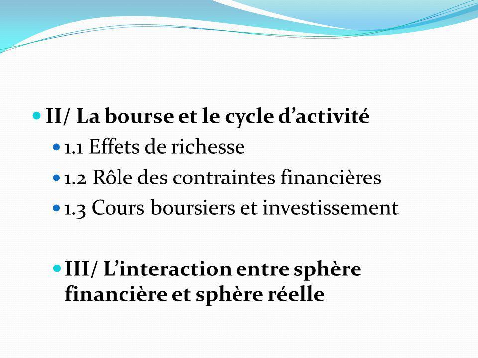 II/ La bourse et le cycle d'activité