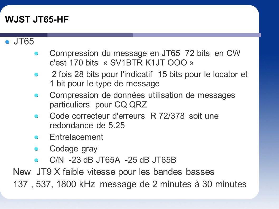 New JT9 X faible vitesse pour les bandes basses