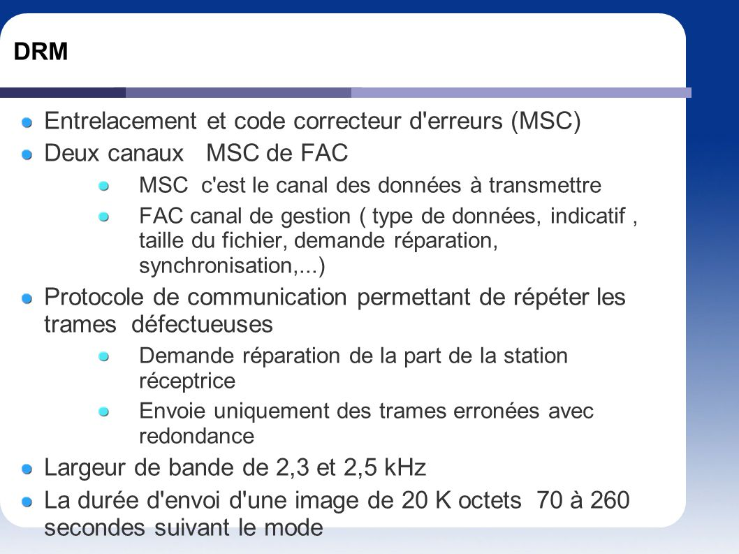 Entrelacement et code correcteur d erreurs (MSC)