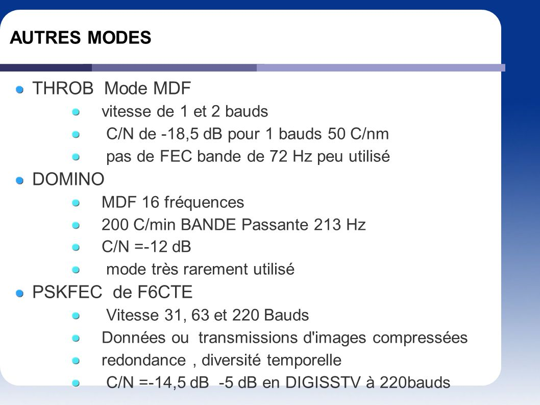 AUTRES MODES THROB Mode MDF DOMINO PSKFEC de F6CTE