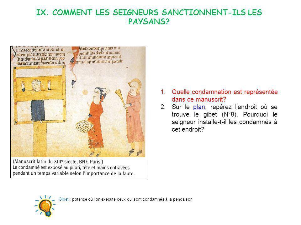 IX. Comment les seigneurs sanctionnent-ILS LES PAYSANS