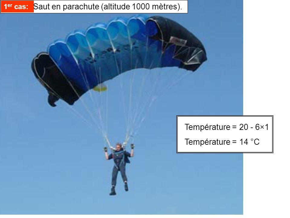 1er cas: Saut en parachute (altitude 1000 mètres).