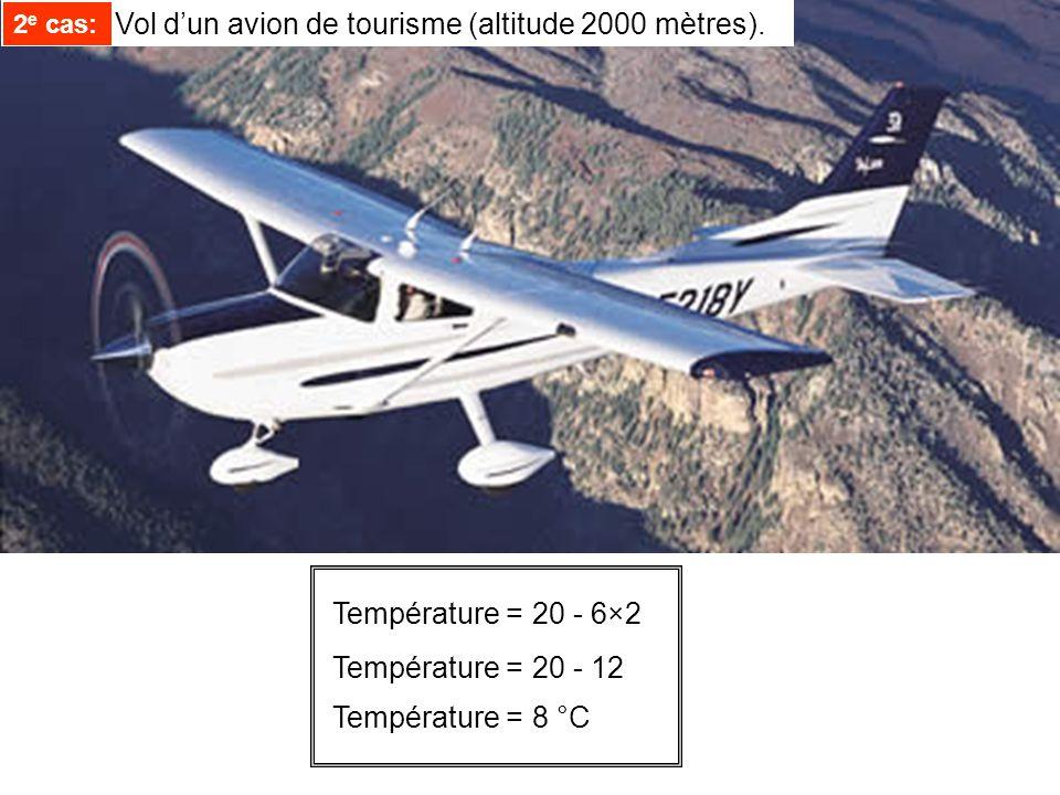 2e cas: Vol d'un avion de tourisme (altitude 2000 mètres).