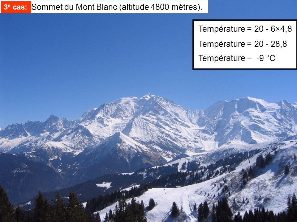 3e cas: Sommet du Mont Blanc (altitude 4800 mètres).