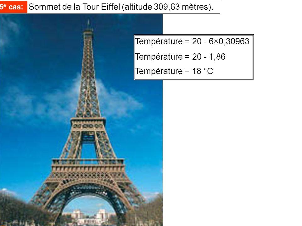 5e cas: Sommet de la Tour Eiffel (altitude 309,63 mètres).