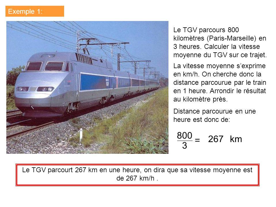 Exemple 1: Le TGV parcours 800 kilomètres (Paris-Marseille) en 3 heures. Calculer la vitesse moyenne du TGV sur ce trajet.