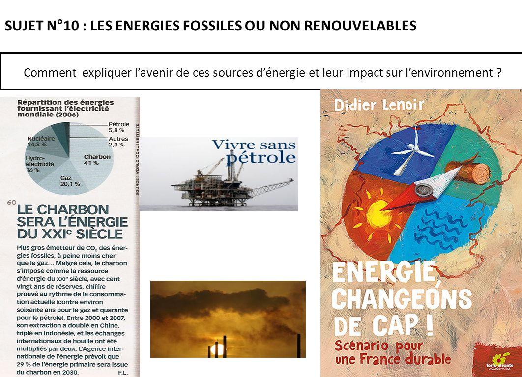 SUJET N°10 : LES ENERGIES FOSSILES OU NON RENOUVELABLES