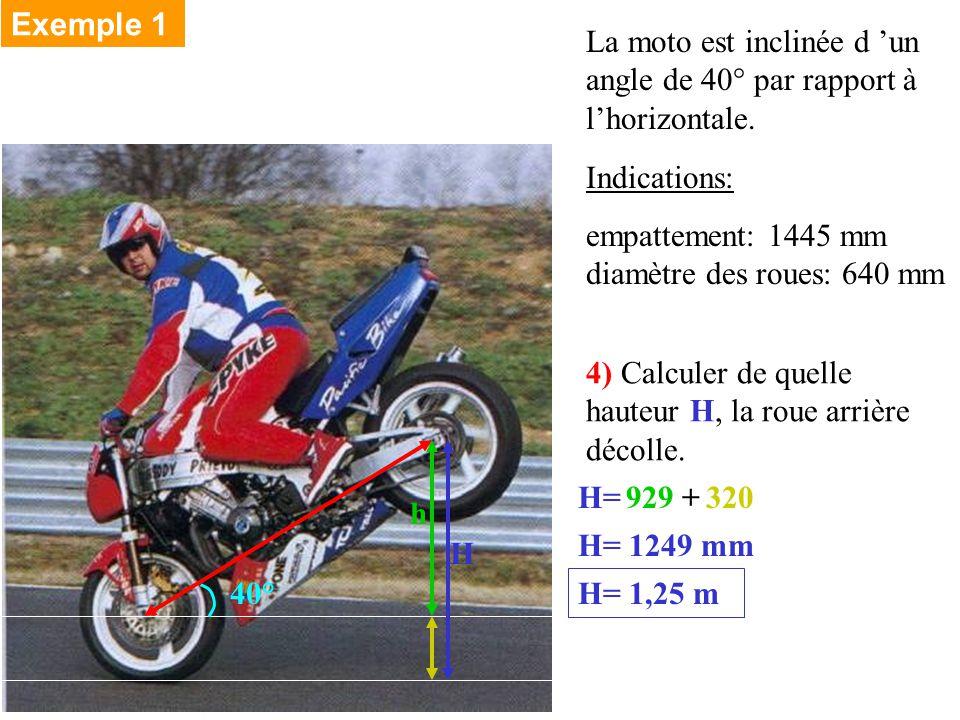 Exemple 1 La moto est inclinée d 'un angle de 40° par rapport à l'horizontale. Indications: empattement: 1445 mm diamètre des roues: 640 mm.