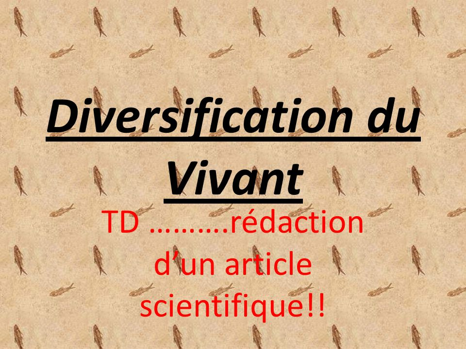 Diversification du Vivant