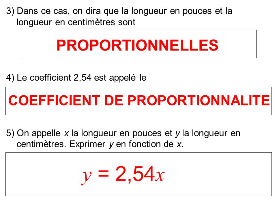 COEFFICIENT DE PROPORTIONNALITE