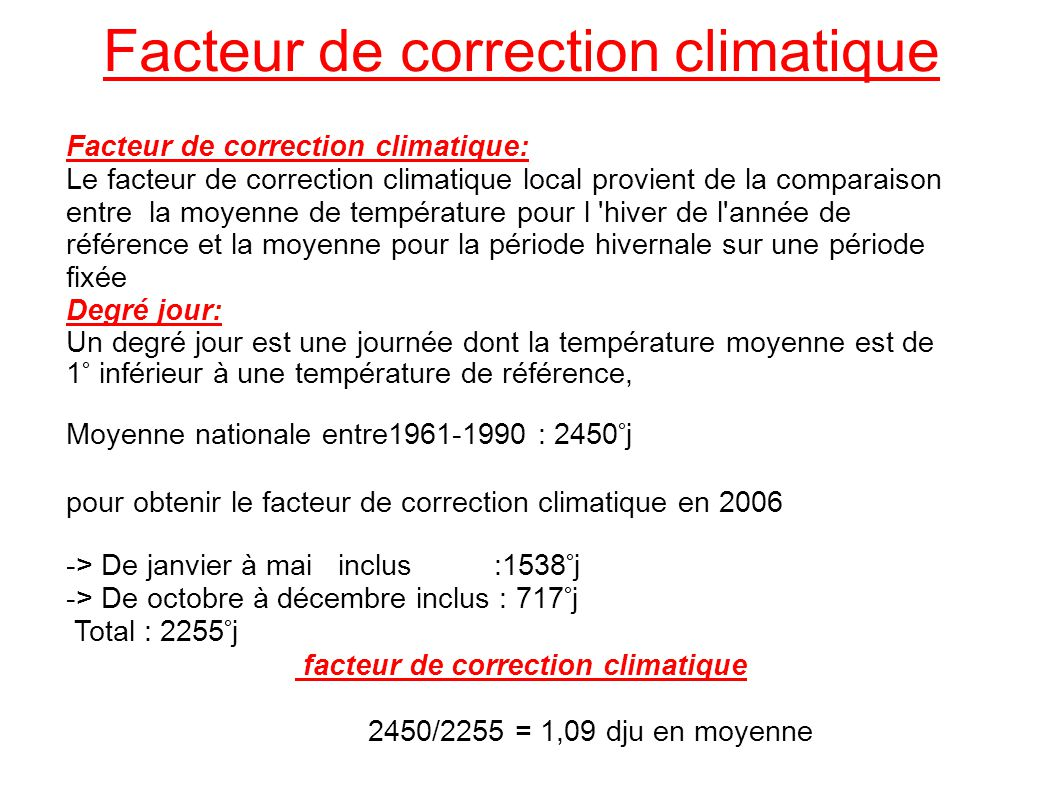 Facteur de correction climatique