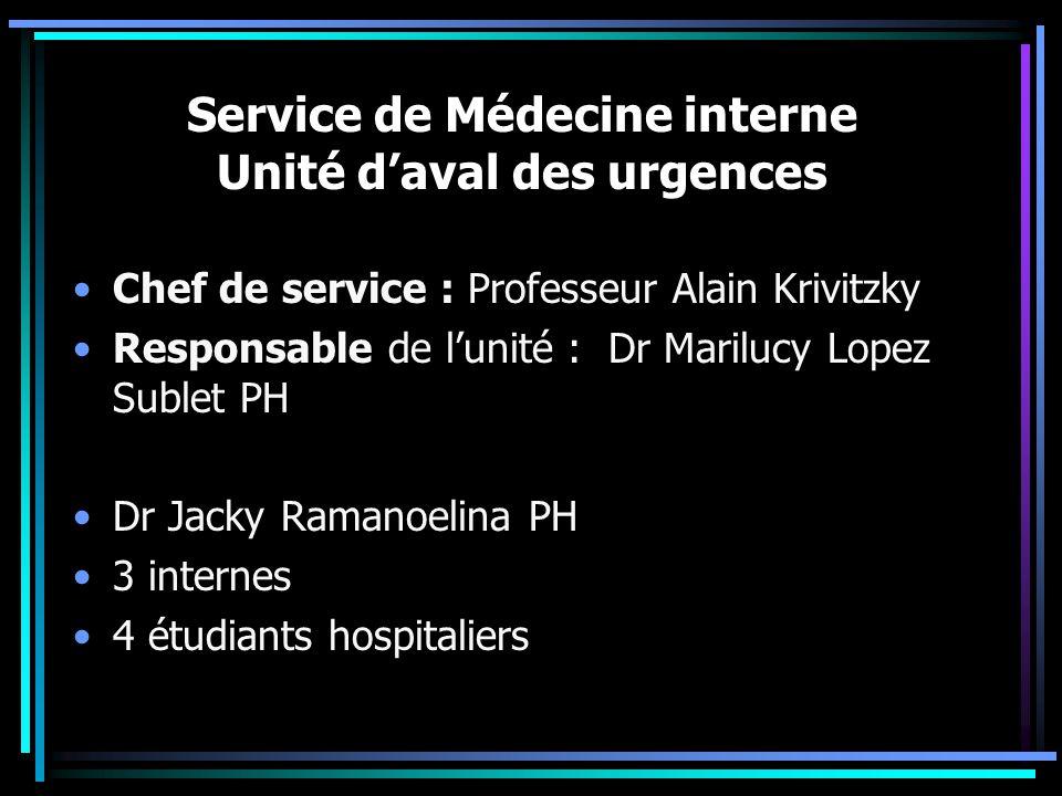 Service de Médecine interne Unité d'aval des urgences