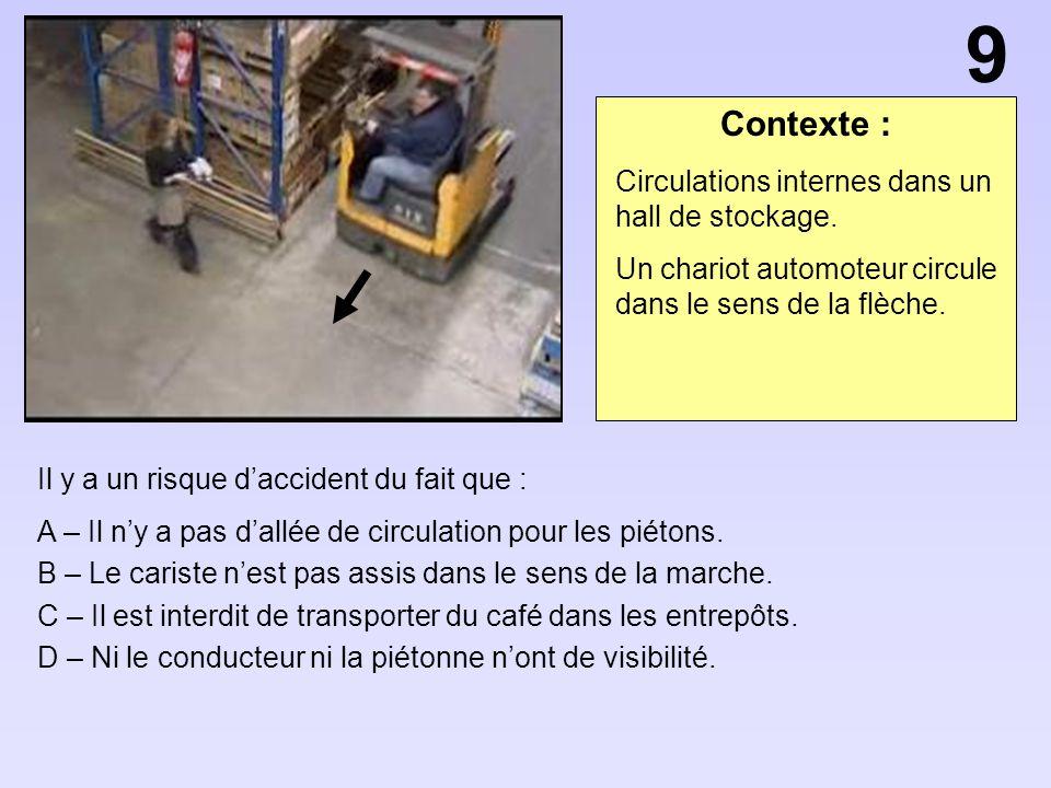9 Contexte : Circulations internes dans un hall de stockage.