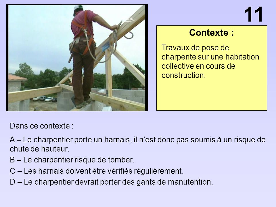 11 Contexte : Travaux de pose de charpente sur une habitation collective en cours de construction.