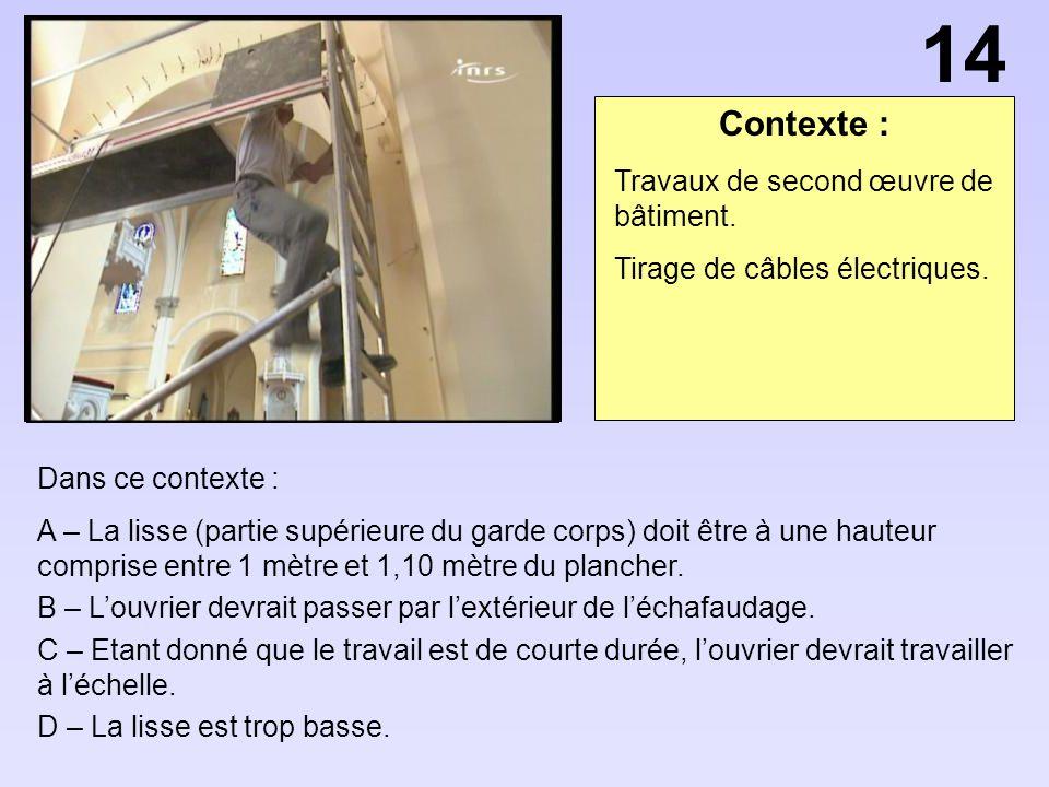 14 Contexte : Travaux de second œuvre de bâtiment.