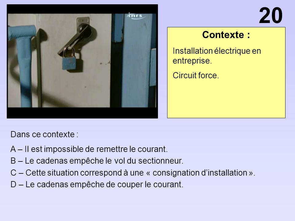 20 Contexte : Installation électrique en entreprise. Circuit force.