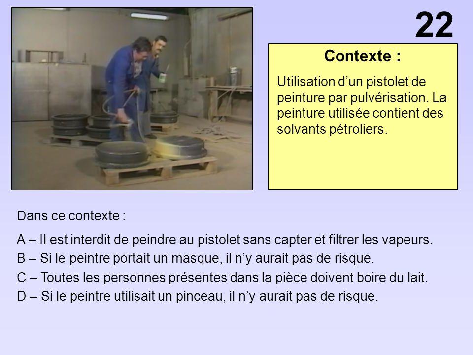 22 Contexte : Utilisation d'un pistolet de peinture par pulvérisation. La peinture utilisée contient des solvants pétroliers.