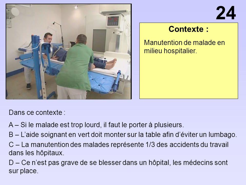 24 Contexte : Manutention de malade en milieu hospitalier.