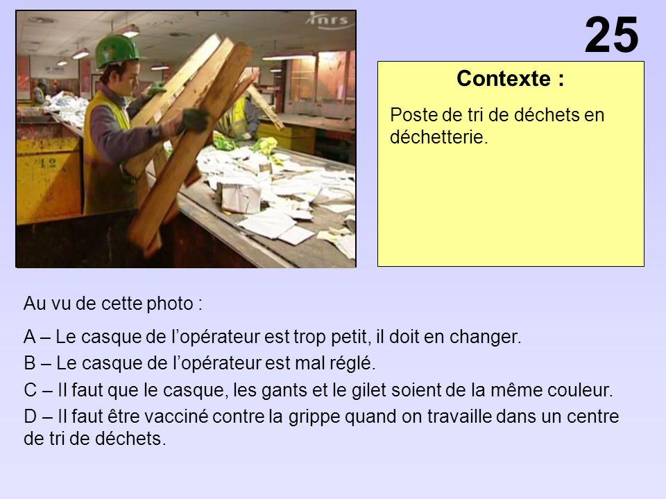 25 Contexte : Poste de tri de déchets en déchetterie.