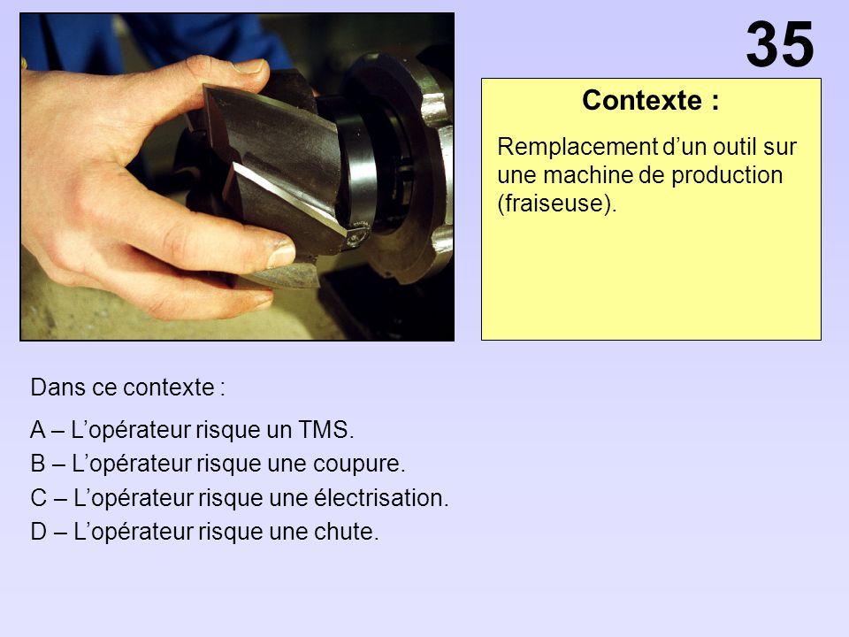 35 Contexte : Remplacement d'un outil sur une machine de production (fraiseuse). Dans ce contexte :