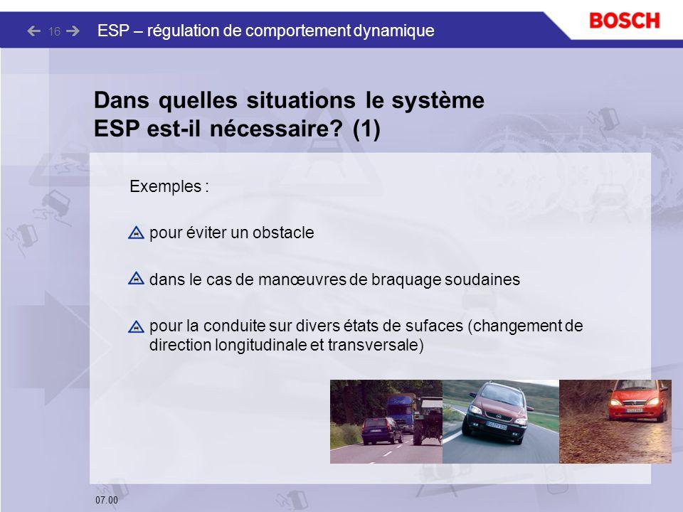 Dans quelles situations le système ESP est-il nécessaire (1)