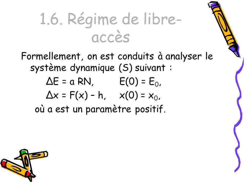 1.6. Régime de libre-accès Formellement, on est conduits à analyser le système dynamique (S) suivant :